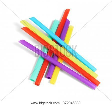 Colorful Plastic Drinking Straws on White Background