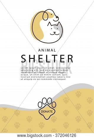 Animal Shelter Poster Template. Vector Illustration With Logo Of Cat And Dog.