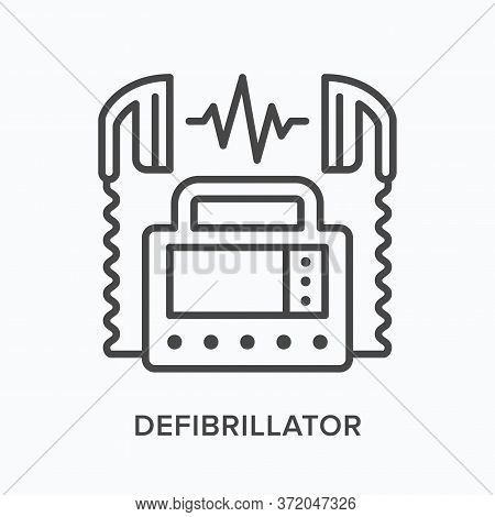 Defibrillator Flat Line Icon. Vector Outline Illustration Of Aed. Heart Emergency, Cardiology Clinic