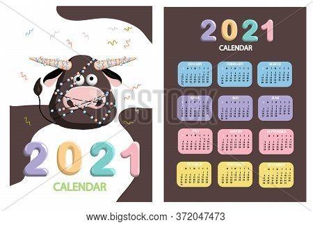 Bull, White Bull Calendar Or A4 Planner For 2021 With Cartoon Kawaii, Bull Or Cow, New Year Symbol O