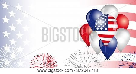 United States Of America, Balloons & Flag Background. Special Offer Sale From Fourth Of July Usa, We