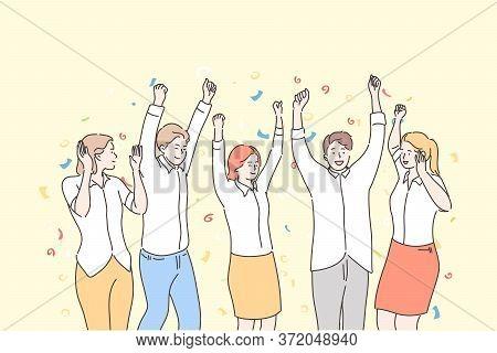 Business, Team, Celebration, Success, Goal Achievement Concept. Group Of Happy People Businessmen Wo