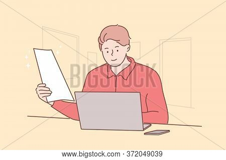 Business, Work, Online, Freelance Concept. Young Happy Man Manager, Boy Freelancer Character Working