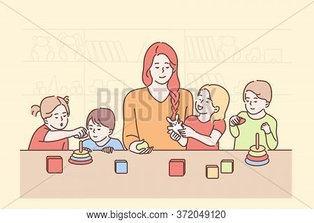 Education, Teaching, Game, Study Concept. Young Smiling Woman Teacher Cartoon Character Playing Cube