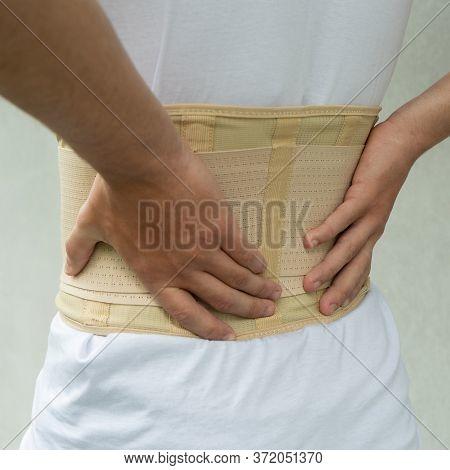 Trauma Of Back. Corset For Posture. Orthopedic Belt For Muscle Back