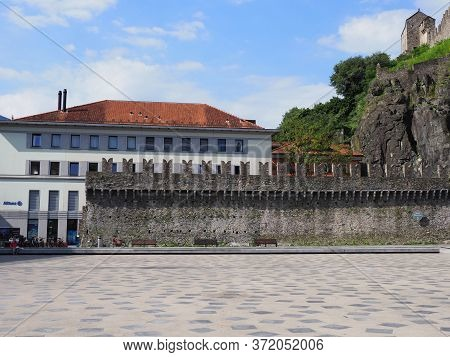 White Building And Fortification Of Castel Grande In European Bellinzona City, Capital Of Canton Tic