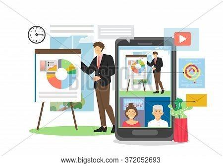 Business Presentation, Webinar On Mobile Device, Vector Flat Illustration