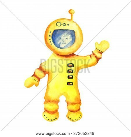 The Astronaut In A Spacesuit Waves His Hand. Hand Watercolor Illustration Isolated On White Backgrou