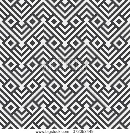 Abstract Geometric Seamless Pattern With Zigzag Lines, Stripes, Triangle Shapes. Modern Texture. Vec