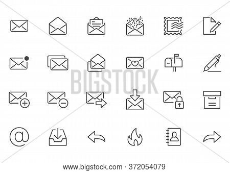 Email Line Icons Set. Letter, Spam Mail, Open Envelope, Postage Stamp, Mailbox, New Document Minimal