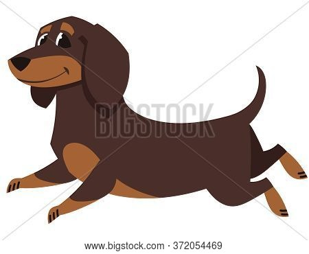 Running Dachshund Dog. Cute Pet In Cartoon Style.