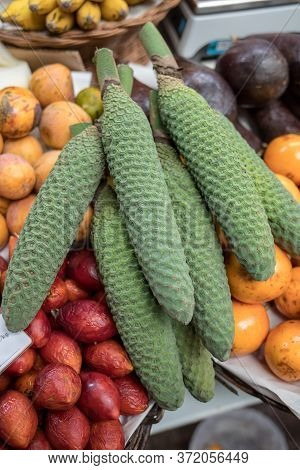 Ananas-banana Fruit (monstera Deliciosa) At Mercado Dos Lavradores. Funchal, Madeira, Portugal