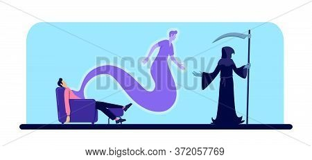 Dead Man And Grim Reaper Flat Color Vector Illustration. Guy Passed Away. Male Body And Soul At Home