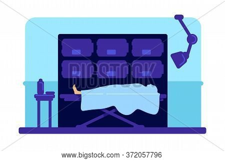 Body In Hospital Morgue Flat Color Vector Illustration. Corpse On Wheeled Bed. Mortuary Room 2d Cart