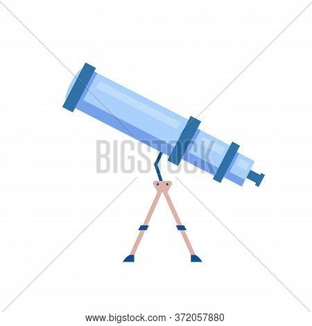 Telescope Cartoon Vector Illustration. Tool To Observe Night Sky. Planetarium Instrument, Astrologic
