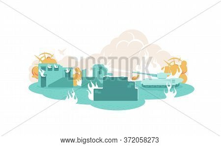 War 2d Vector Web Banner, Poster. Building Ruin In Flame. Tank In City. Military Violence Flat Illus