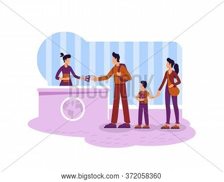 Tourist Getting Visa 2d Vector Web Banner, Poster. Parents And Child At Migration Control Flat Chara