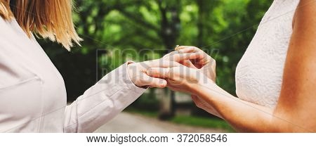wedding beautiful lesbian couple in love getting married or engaged  concept of gay marriage equality