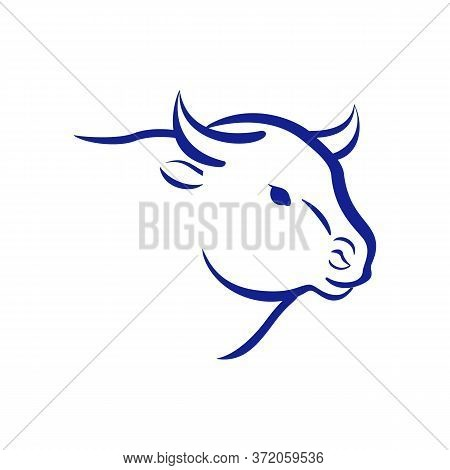 Bull Logo. Cow Head. 2021 New Year Sign. Vector Illustration.