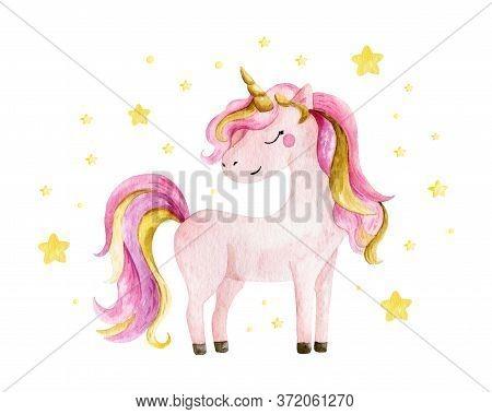 Isolated Cute Watercolor Unicorn And Stars Clipart. Nursery Unicorns Illustration. Princess Unicorns
