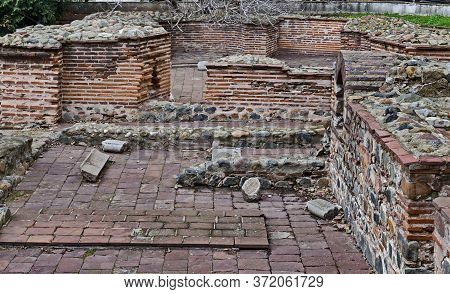 Sofia, Bulgaria - November 28, 2019: View Of Some Of The Preserved Ruins Of The Late Antique Public