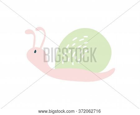 Cute Hand Drawn Nursery Poster With Snail Animal. Vector Illustration In Candinavian Style. Baby Ill