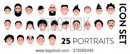 Man Portraits Icon Set. Set Of 25 Vector Icons Of Man Faces With Different Emotions. Avatar, Profile