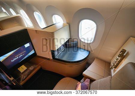 BANGKOK, THAILAND - CIRCA JANUARY, 2020: interior shot of Etihad Airways Boeing 787 Dreamliner