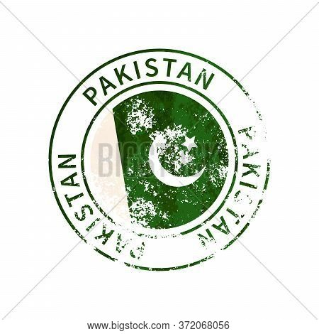 Pakistan Sign, Vintage Grunge Imprint With Flag On White