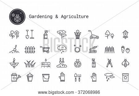 Gardening, Horticulture, Landscaping Thin Line Vector Icon Set. Soil Cultivation, Garden Work Tool,
