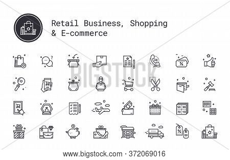 Retail Business, Shopping, E-commerce Thin Line Icons. On-line Shop, Commerce, Goods And Money Picto