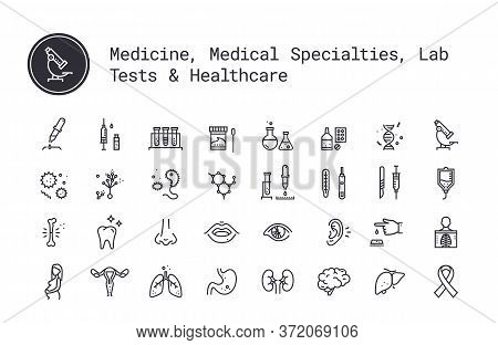 Medicine Specialties, Clinical Laboratory Thin Line Icons. Medical Science, Virology Study, Microbio