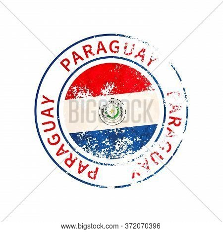 Paraguay Sign, Vintage Grunge Imprint With Flag On White