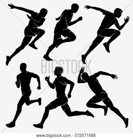 Running Men. Men Marathons. Silhouette Stock Vector Illustration.