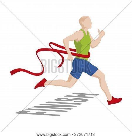 Running Men. Running Marathons. Finish. Stock Vector Illustration On A White Background