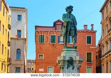 Monument in honour of Italian playwright and librettist Carlo Goldoni. The monument was erected in Campo San Bartolomeo in 1883 in Venice, Italy.