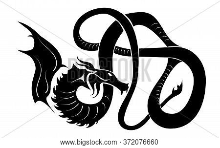 Illustration Abstract Decoration Black Dragon Silhouette. Vector Mythological Or Indigenous Tribal J