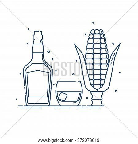 Whiskey Corn Produkt In Glass Bottle With Glassware In Flat Style. Alcohol Beverage. Great Design Fo