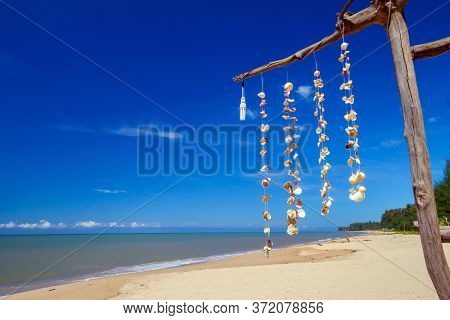 Sea shells hanging on strings at the beach of the Andaman Sea, Thailand