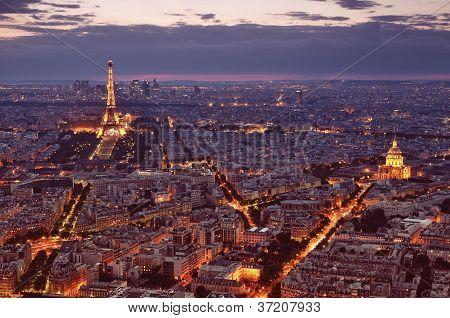 Paris Skyline at night.