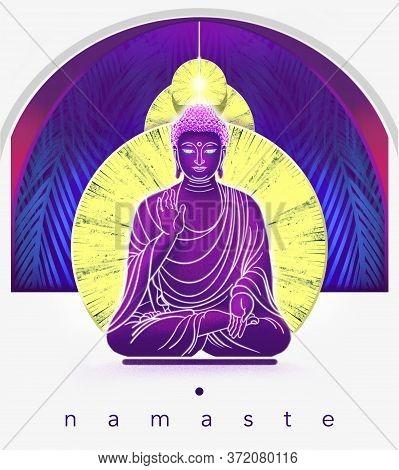 Buddha In Meditation Illustration. Buddha Poster. Namaste