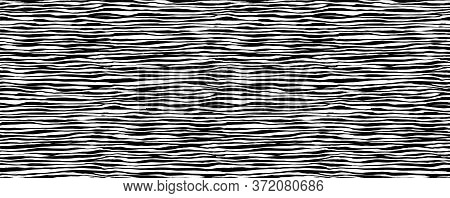Hand Drawn Seamless Pattern. Vector Texture, Endless Background Painted By Ink. Black And White Abst