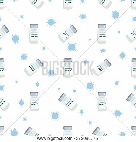 Vaccine Bottles, Isolated. Medical Vector Pattern Antiviral Vaccine In Flat Style. Prevention, Immun
