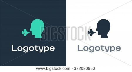 Logotype Man Coughing Icon Isolated On White Background. Viral Infection, Influenza, Flu, Cold Sympt