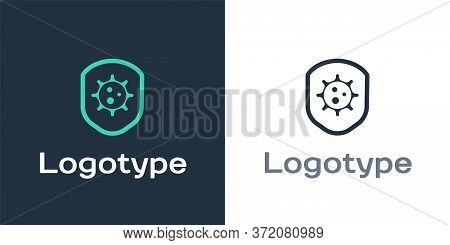 Logotype Shield Protecting From Virus, Germs And Bacteria Icon Isolated On White Background. Immune