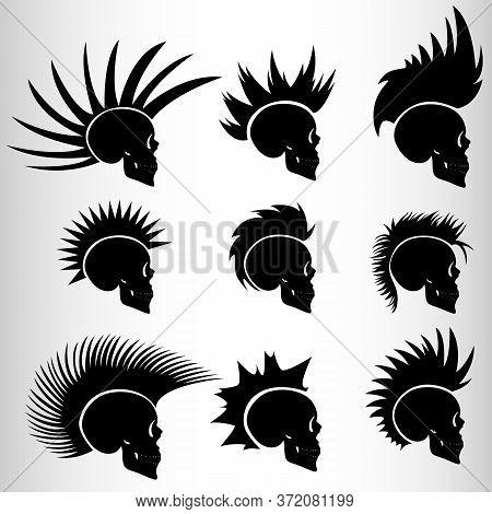 A Set Of Nine Skulls In The Style Of Cyberpunk. Set For Emblems Or Tattoos, Skull Punk. Nine Emblems