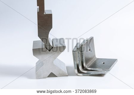 Sheet Metal Bending Tool And Equipment Isolated On A White Background. Bend Tools, Press Brake Punch