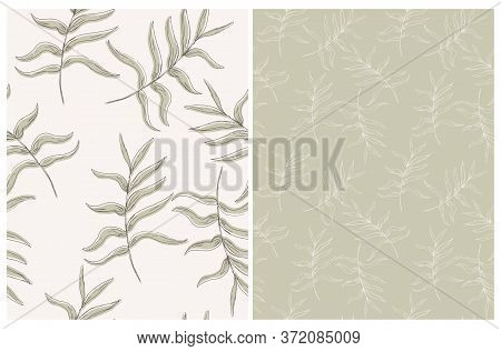 Abstract Palm Leaves Seamless Vector Pattern. Pale Green Tropical Repeatable Design. Aloha Party Dec