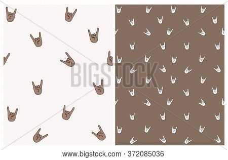 Seamless Vector Pattern With Hell Yeah Symbol. Brown Hands On A Off-white Background. Funny Irregula