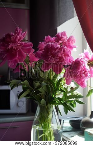 Uncovered Pink Peonies In A Vase. Home Interior. Kitchen. Comfort And Flowers In The House.
